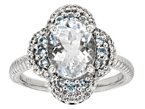 Blue Aquamarine Sterling Silver Ring 2.45ctw