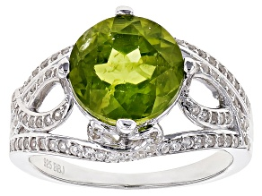 Green Peridot Sterling Silver Ring 4.54ctw