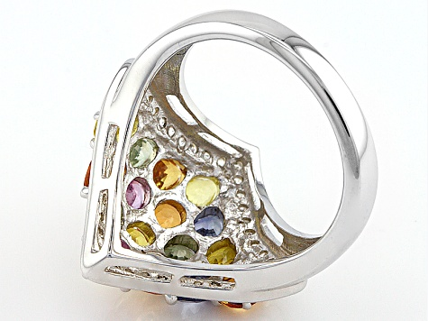 Multi-Color Sapphire And White Zircon Sterling Silver Ring 3.58ctw