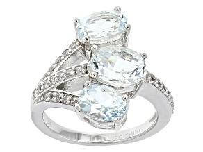 Blue Aquamarine Sterling Silver Ring 2.51ctw
