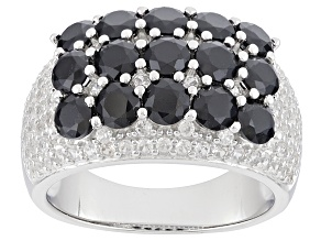 Black Spinel Sterling Silver Ring 2.60ctw