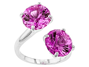 Pink Lab Created Sapphire Sterling Silver Ring 8.07ctw
