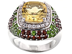 Yellow Brazilian Citrine Sterling Silver Ring 6.11ctw