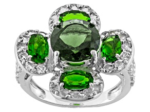 Green Moldavite Sterling Silver Ring 4.97ctw
