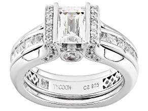Cubic Zirconia Platineve Ring With Guard  4.14ctw (2.92ctw DEW)