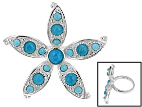 Turquoise Sterling Silver Over Brass Starfish Ring.