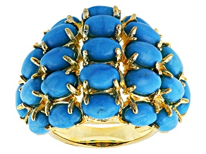Turquoise 18k Yellow Gold Over Brass Ring