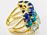 Turquoise, Lapis And Blue Topaz 18k Yellow Gold Over Brass Ring
