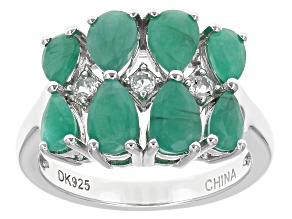 Green Emerald Sterling Silver Ring 2.15ctw
