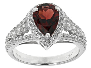 Red Garnet Sterling Silver Ring 2.38ctw