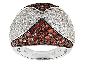 Red Garnet And White Zircon Sterling Silver Ring 4.97ctw