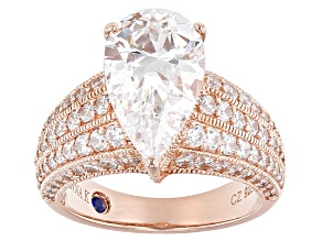 Cubic Zirconia 18k Rose Gold Over Silver Ring 7.93ctw