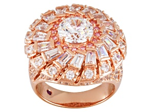 Pink And White Cubic Zirconia 18k Rose Gold Over Silver Ring 5.17ctw