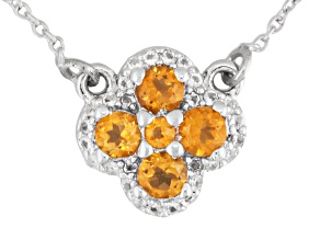 Yellow Brazilian Citrine Sterling Silver Necklace .63ctw.