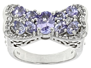 Blue Tanzanite And White Zircon Sterling Silver Ring 2.37ctw