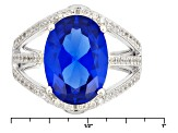 Blue Lab Created Spinel Sterling Silver Ring 5.32ctw