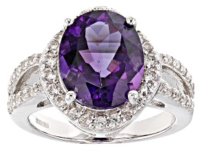 Purple Uruguayan Amethyst And White Zircon Sterling Silver Ring 5.98ctw