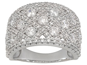 Rhodium Plated Sterling Silver Cubic Zirconia Ring 3.27ctw