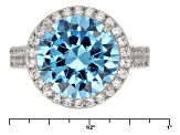 Blue And White Cubic Zirconia Rhodium Over Silver Ring 11.04ctw