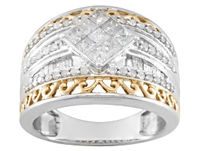 Pre-Owned 1.22CTW PRINCESS CUT, ROUND & BAGUETTE DIAMOND, RHODIUM & 14K YG OVR S/S RING
