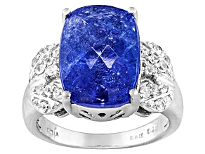 Pre-Owned  9.00ct Cushion Kutamani Tanzanite ™,.39ctw Round White Zircon Silver Ring