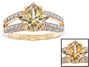 PRE-OWNED  1.99CT PRINCESS CUT COLOR CHANGE TURKISH ZULTANITE® WITH .25CTW RD WHT DIAM 14KT RG