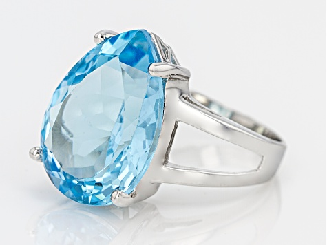 Pre-Owned 12.00ct Pear Shape Swiss Blue Topaz Sterling Silver Solitaire Ring