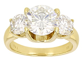 PRE-OWNED  MOISSANITE FIRE® 4.30CTW DEW ROUND 14K YELLOW GOLD OVER STERLING SILVER 3 STONE RING