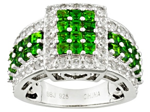 Pre-Owned 1.90ctw Sq Russian Chrome Diopside W/1.61ctw Round White Zircon Sterling Silver Ring