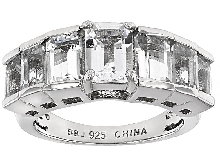 770a0b803 Pre-Owned 2.46ctw Emerald Cut Nigerian Aquamarine Sterling Silver 7-Stone  Band Ring - PRW5760 | JTV.com