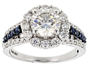 Pre-Owned 2017 Holiday Ring Moissanite Fire® 3.02ctw DEW & Blue Sapphire .32ctw Platineve™ Ring