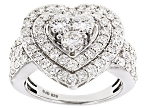 Pre-Owned Moissanite Fire® 2.04ctw Diamond Equivalent Weight Round Platineve™ Ring