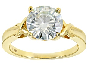 Pre-Owned Moissanite Fire® 3.60ct DEW Round 14k Yellow Gold Over Silver Solitaire Ring