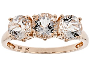 Pre-Owned 1.84ctw Round Cor-De-Rosa Morganite™ 10k Rose Gold 3 Stone Band Ring