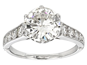 Pre-Owned Moissanite Fire® 2.66ctw Round Platineve™ Ring