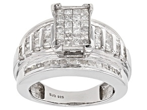Pre-Owned 1.50ctw Round, Baguette And Princess Cut White Diamond Rhodium Over Sterling Silver Ring