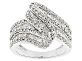 Pre-Owned Round And Baguette Diamond Rhodium Over Sterling Silver Ring, 1.50ctw