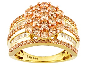 Pre-Owned Brown And White Cubic Zirconia 18k Yellow Gold Over Silver Ring 4.02ctw (2.15ctw DEW)