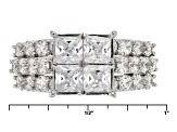 Pre-Owned White Cubic Zirconia Rhodium Over Sterling Silver Ring 5.14ctw