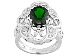 Pre-Owned Green Chrome Diopside And White Zircon Sterling Silver Ring 2.34ctw
