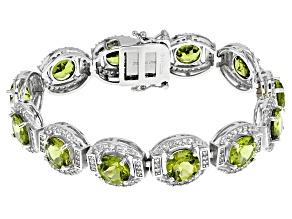Green Peridot Sterling Silver Bracelet 32.25ctw