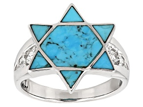 Pre-Owned Blue Turquoise Sterling Silver Star Of David Ring