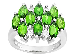 Pre-Owned Green Chrome Diopside And White Zircon Sterling Silver Ring 2.74ctw