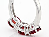 Pre-Owned Red Lab Created Bixbite Sterling Silver 3-Stone Ring 1.93ctw