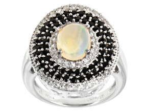 Pre-Owned Multi Color Ethiopian Opal Sterling Silver Ring 2.56ctw.