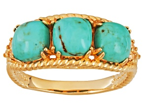 Pre-Owned Turquoise And White Topaz 18k Yellow Gold Over Brass Ring. .06ctw