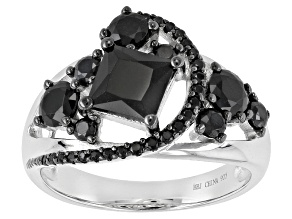 Pre-Owned Black Spinel Sterling Silver Ring 2.01ctw