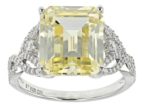 Yellow And White Cubic Zirconia Silver Ring 11.42ctw (6.41ctw DEW)