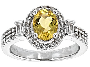 Pre-Owned Yellow Beryl And White Zircon Sterling Silver Ring 1.32ctw