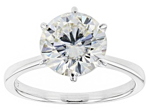 Moissanite Fire® 3.10ct Diamond Equivalent Weight Round Platineve™ Solitaire Ring